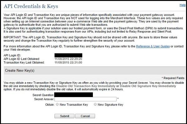 Authorize.net credentials